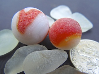 Red, FROSTY, sea glass marbles, $62 12/2