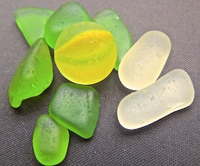 Rare YELLOW sea glass MARBLE - SALE 1/1/14 $36