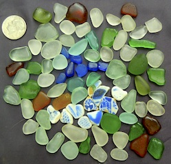 Cobalt sea glass & sea pottery, $24 3/18