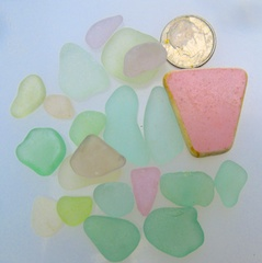 Pink! Sea glass & Sea Pottery, $24 4/22