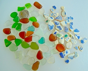 Sea glass & sea pottery - SALE! $26 $6/16