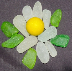 Yellow Sea Glass Marble, 8/16 $43
