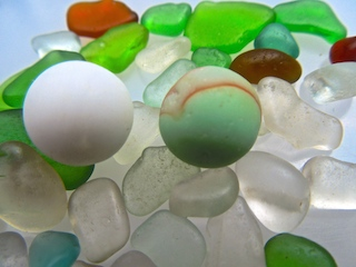 Two sea glass marbles! $46 12/29